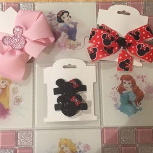 Other - 3 Disney Themed hair ribbons and clip.